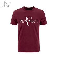 Summer Style Men Fashion Roger Federer T Shirt Men's RF Perfect Letters T-Shirt Short Sleeve Cotton Tees Top