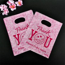 100pcs 15x20cm Thank You Print Plastic Gift Bag Favor Jewelry Boutique Gift Packaging Plastic Shopping Bags With Handle