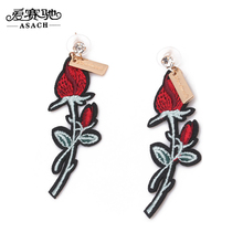 ASACH Romantic Embroidery Flower Rose Drop Earring Crystal Branches Dangle Earrings Letter Alloy Ear Drop Women Brincos Earrings(China)