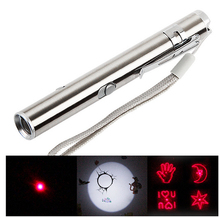 Stainless Steel 3 in 1 Mini USB Rechargeable Flashlight Led Laser Multi Pattern Triad