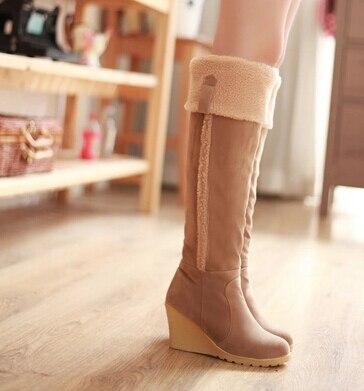 2017 New Fashion Women Round-heeled Suede Boots Winter Platform Wedges Warm Boots Thong High Boots Botas Femininas <br>