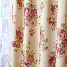 Single Panels Pastoral Style Bronzing Printed Luxury Curtains for Bedroom Flower Pattern Window Curtain Living Room (A311)