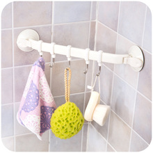 Bathroom Kitchen Wall Strong Suction Cup five Hook Removable Vacuum Magic Plastic storage rack for Home Decor(China)