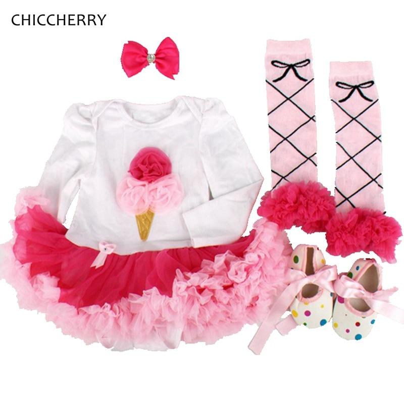 Fashion Icecream  Lace Romper Dress Newborn Tutu Sets Bow Headband &amp; Leg Warmers Valentine Girls Roupas De Bebe Infant Clothes<br><br>Aliexpress