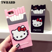 3D Cute Hello Kitty pattern Cigarettes Soft silicon Phone case For iPhone 6S Plus Soft Protective Shell For iPhone 5 5S SE Cover(China)