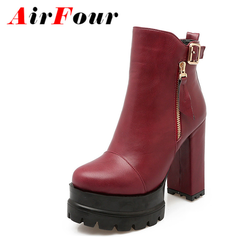 Airfour New Style Ankle Boots for Women High Heels Autumn and Winter Boots Shoes Woman Platform Shoes Zippers Round Toe Western<br><br>Aliexpress