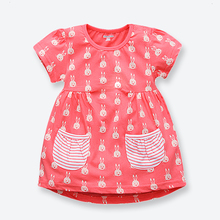 New Children's Dress Cotton Girl Summer Dresses White Rabbit Print Kids Dresses for Girls Fashion Children's Costume 1-6 Years