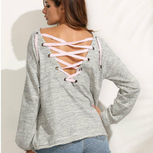 2017 Autumn and Summer Europe and the United States New Lady Sleeves Solid Color Lacing Sexy Tether Fashion Long Sleeve T-Shirt