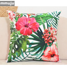 (Discount) Home Decorative Pillow High Quality print Flamingo Parrot Pillowcase Lily Flower Cushion cover linen Almofada Cojines(China)