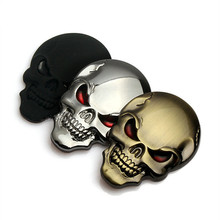 3D Zinc Alloy Metal Skull Car-Styling Stickers VW Cool Motorcycle Truck Badge Emblem Tail Decal Accessories 4 Colors(China)