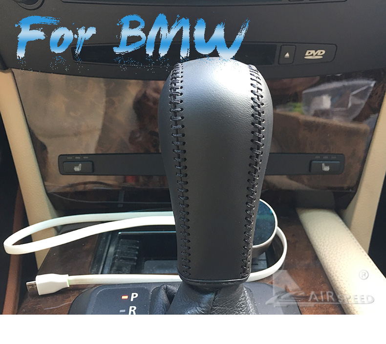 Leather Car Gear Shift Lever Cover Handbrake Grips Sleeve for BMW E60 E90 X3 X5 Z4 6 Series Accessories Car Styling (1)