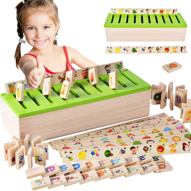Montessori Educational Dominoes Kids Toy Wooden Creature Blocks Children Early Learning Classification Box Brinquedos<br>