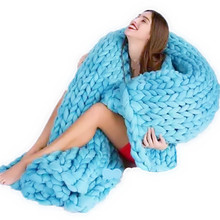 2017 New Knitting Blanket Soft Blanket For Bed Natural Anti-Pilling Super Sofa Plane Cobertor Wool Knitted Blanket With 5Colors(China)