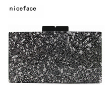 2017 new wallet brand fashion women messenger bag silver sequins acrylic Clutch lady unique hand bag woman luxury evening bag(China)