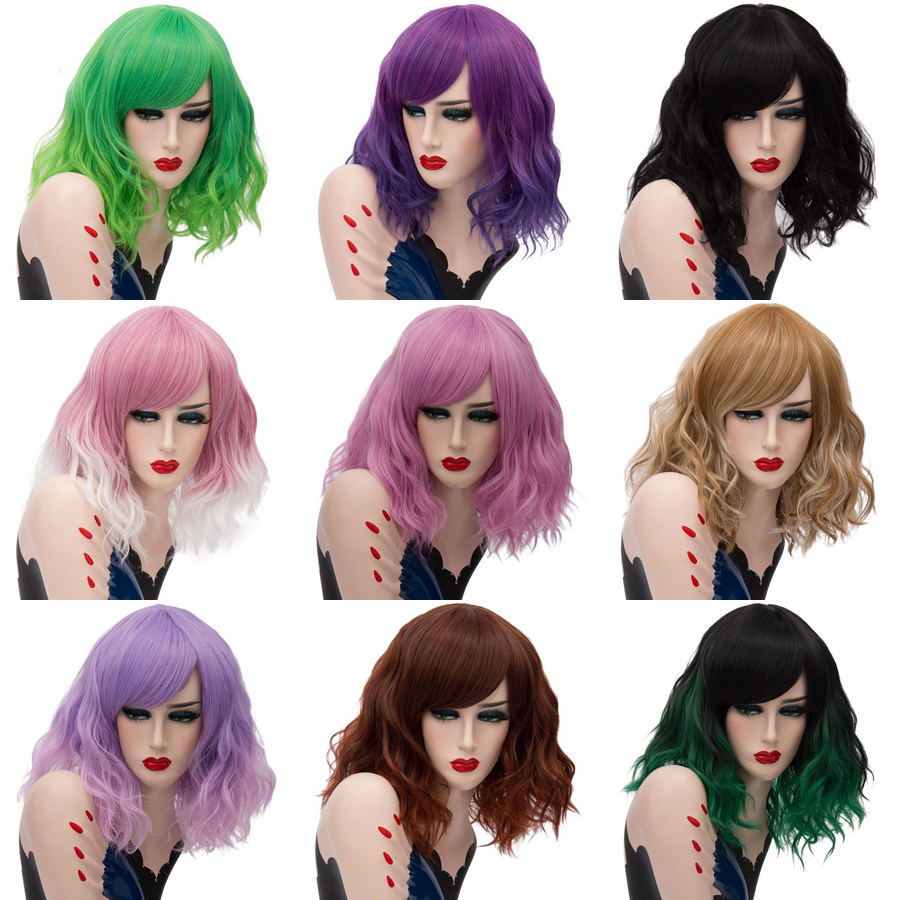 Yiyaobess Ombre Wig Bangs Short Halloween-Costume Synthetic-Hair Wavy Pink Purple Blue title=