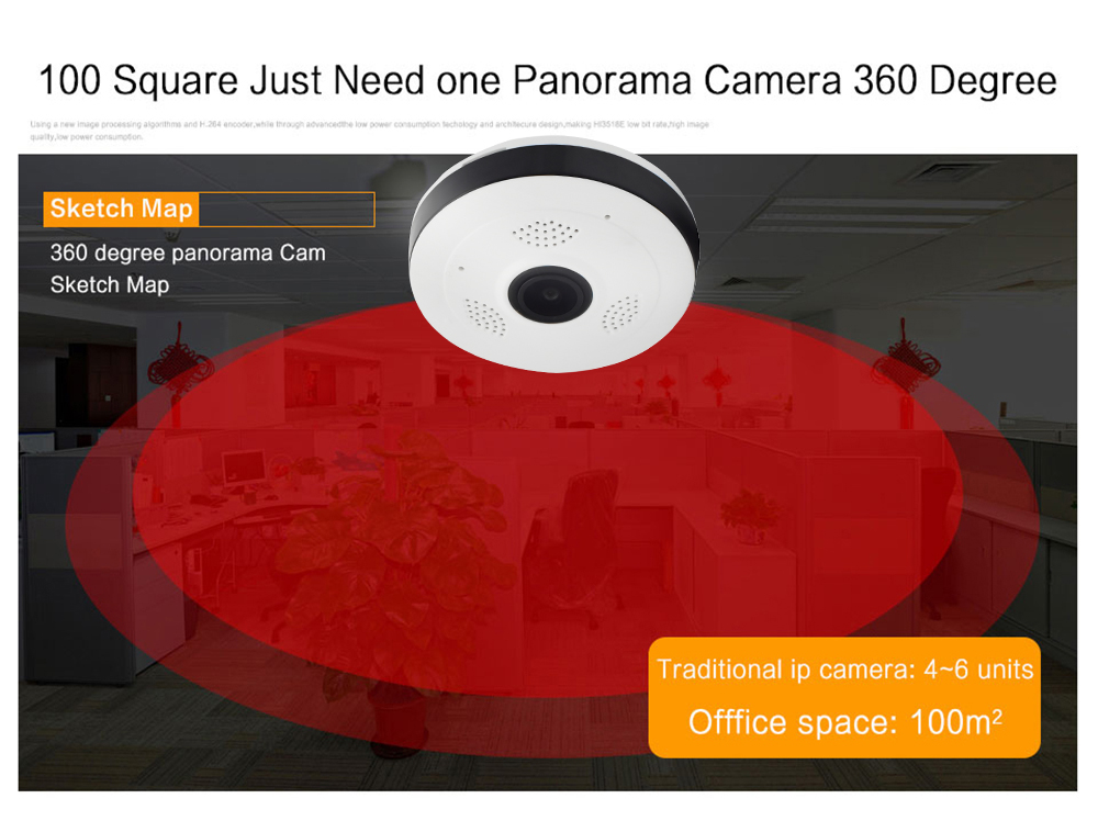 Wistino CCTV HD 960P WIFI IP Camera Alarm Wireless VR Panoramic Camera Fisheye 360 Degree Video Baby Monitor Home Surveillance (8)