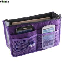 Portable Multifunction Dual Zipper Storage Bag Insert Organiser Handbag Women Travel Bag in Bag Organizer For Cosmetics Ipad(China)