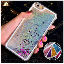 Fashion Fun Dynamic Liquid Glitter Star Quicksand Phone Cases For iphone 5C 5 5S 6 6S 6 6s plus 7 7plus plastic Hard case Cover(China)