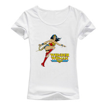 Buy Wonder Woman T Shirt Female Summer New Femme Printed T-Shirt O-Neck Short Sleeve Elastic Cotton Tees Women Fashion Tops A11 for $5.99 in AliExpress store