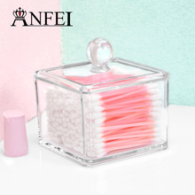 Clear Acrylic Q-tip Holder Box With Cover Cotton Swabs Stick Storage Cosmetic Makeup Organizer Women's Powder Jewelry Cases New(China)