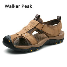Size 38-46 Men s Sandals Genuine Leather Summer Shoes New Beach Men Casual Shoes  Outdoor Sandals for man Walker Peak 2018 c620caf5ad7b