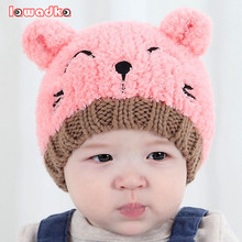 Cute Cat Knitted Baby Caps and Scarves Boys Girls Toddler Crochet Beanie Hairball Ear Baby Hat Cute Children Caps(China)