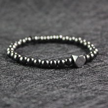 Fashion simple design silver square beads and 6 mm round beads hematite bracelet HB1019