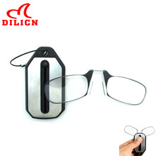 Portable Nose Clip Reading Glasses Men Women Keyholders Presbyopic Glasses Mini Clip On Reading Glasses Keychain Case 1.5 2.0(China)