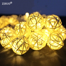 ZINUO8 Modes 10M 38LED 7 Color Lantern Rattan Ball Fairy LED String Light For Holiday Christmas Wedding Party Curtain Decoration(China)