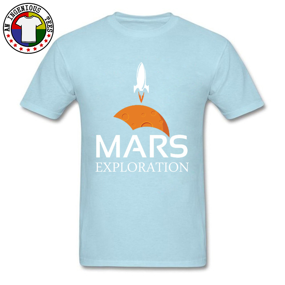 Mars-Exploration-Space-Rockets Design Tops Shirt Short Sleeve for Men All Cotton Autumn Crew Neck T Shirts Normal Tees Slim Fit Mars-Exploration-Space-Rockets light