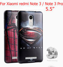 High Quality Soft TPU 3D Relief Print Back Cover Case For xiaomi Redmi Note 3 / Note 3 Pro Phone Bag With Glass Film