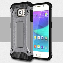 [Long Steven]For Samsung S6 Case Unique Armor Anti-Knock Bumper Attached Dust Cap Cover For Samsung Galaxy S 6 Case G9200 Funda