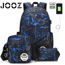 JOOZ Brand New Fashion Practical Cool External USB Charge Port Computer Laptop Backpack Anti-theft Waterproof Bag For Men Women