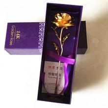 24K Gold Plated Long Stem Rose Flower for Valentine / Mothers Day / Wedding Favor with Small Bear Gift (Purple Rose)