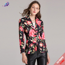 2017 High Quality Women Autumn Winter Coats New Long Sleeve Flower Floral Printed Casual Jackets Fashion Coat Outerwear Free DHL(China)