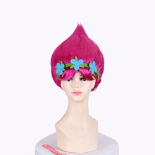 New!! Trolls Party Girls Baby Flower Cartoon Girl Poppy Wig Toddler Copyplay Troll Party Decorations Supplies Hair Hats Kid Gift(China)