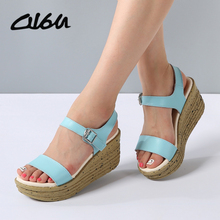 O16U Women sandals Platform Cork wedges summer Leather Open Toe Concise buckle button Solid Ladies Casual comfortable shoes blue(China)