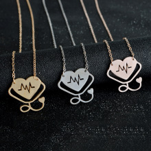 Trendy Fashion Heart Beat Electrocardiogram Stethoscope Necklace Lover Romantic Design Accessories VN302