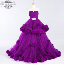 alibaba retail store Off Shoulder Tiered Cloud Purple Pleat Crystal Purple Wedding Dress 2017