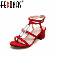 FEDONAS Women Thick High Heeled Summer Sandals Rhinestone Black Red Pink Night Club Prom Shooes High Quality Sandals