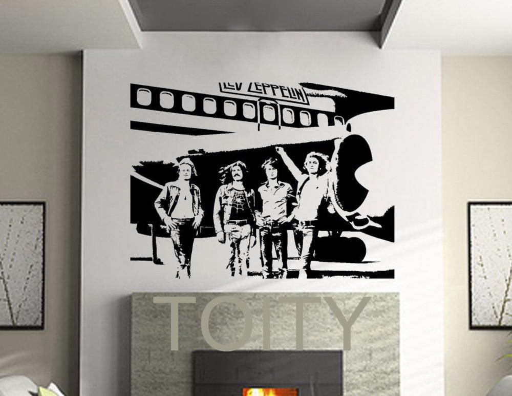 Led zeppelin wall stickers english rock band vinyl decals heavy metal art decor dorm home room