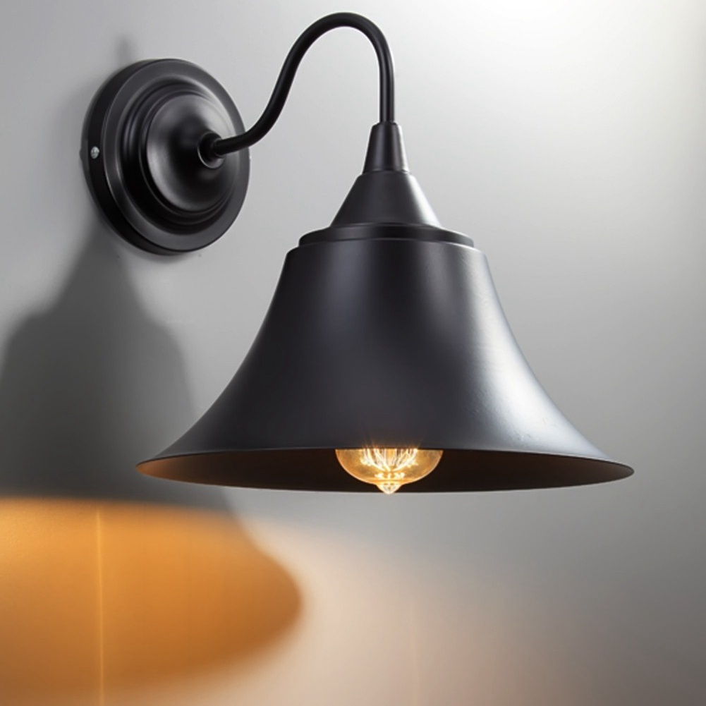 Loft Iron Bell Wall Lamp Retro Industrial E27 Bulb Lamp Fixtures Black Lampshade Wall Light Wall Sconces Home Light Abajur<br>