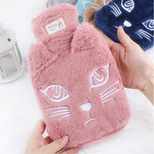 New Winter Lovely cat Hot Water Bottle With Detachable Soft Cute Animal Hand Warmer Water Filling Hot Water Bag JJ002(China)