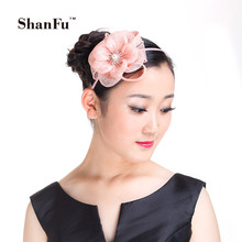 ShanFu 2015 Fashion Women Sinamay Fascinator Headband Hair Acessories with Rhinestone for Tea Party Cocktail SFD2806(China)