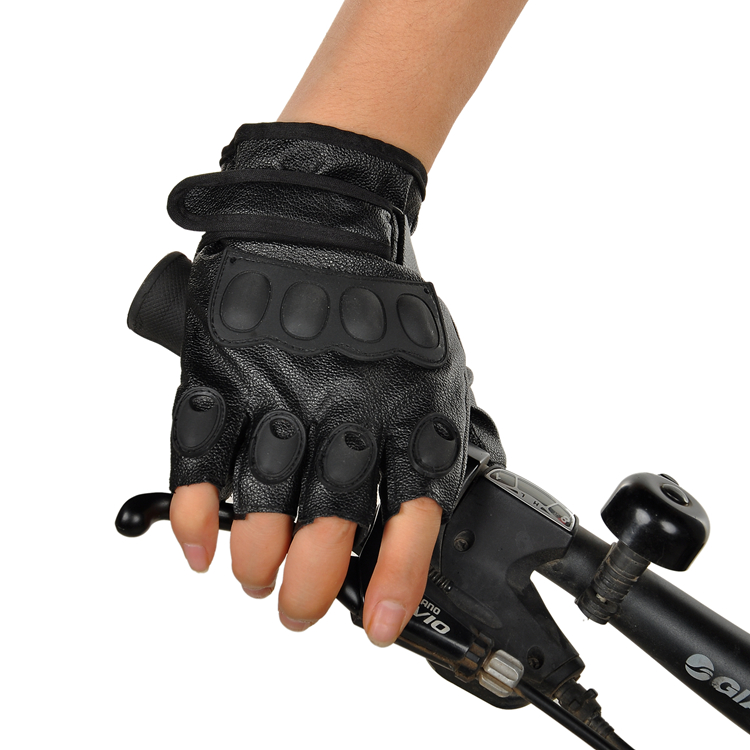 Wholesale leather men half gloves gloves PU slip mittens outdoor mountaineering thunderbolt protection<br>