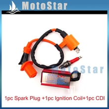 Red Racing 5 Pin AC CDI Box Ignition Coil A7TC Spark Plug For Spree SYM DD50 Dio Elite SB SA 50 Scooter Moped