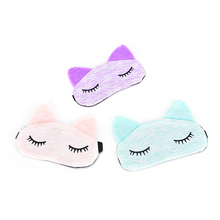 Cartoon Lace Eyeshade Sleeping Mask Cover Microfiber Eye Eyepatch Blindfolds To Shield The Light Cute Cat Eye Mask Cover(China)
