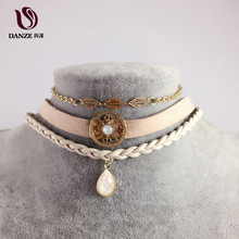 DANZE 5 Types Bohemian Choker Necklace Set for Women Female Opal Pendant Mesh Chokers Fashion Rivet Leaf Collier Femme Jewelry