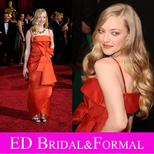 Amanda Seyfried Dress at 81st Annual Academy Awards Oscar Red Carpet Spaghetti Straps Satin Celebrity Gown with Big Bow