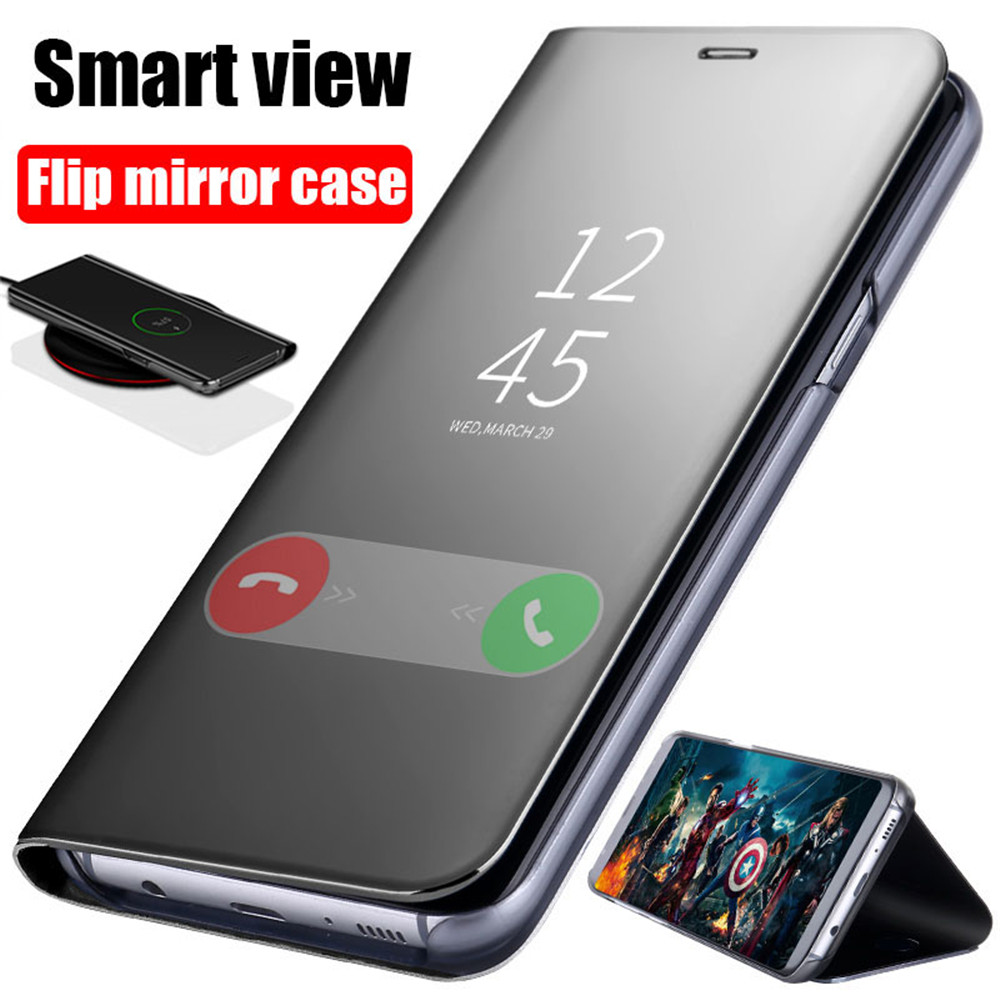 Smart Mirror Flip Case For Samsung Galaxy S8 S9 S10 Plus A7 A8 A6 J6 J8 2018 S6 S7 Edge A5 A3 J5 J3 J7 Prime 2017 2016 Note 9 8(China)